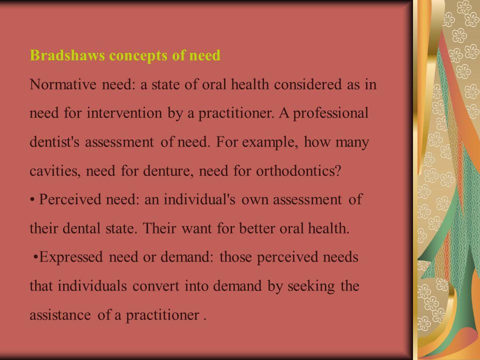 Bradshaws concepts of need