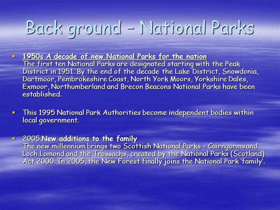 Back ground – National Parks