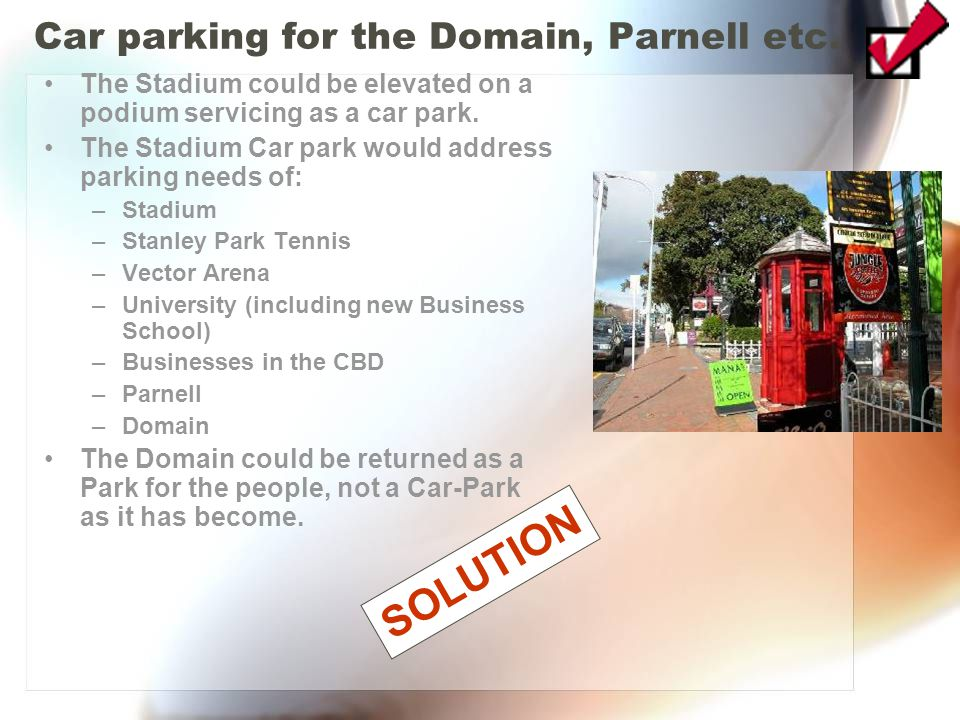 Car parking for the Domain, Parnell etc.