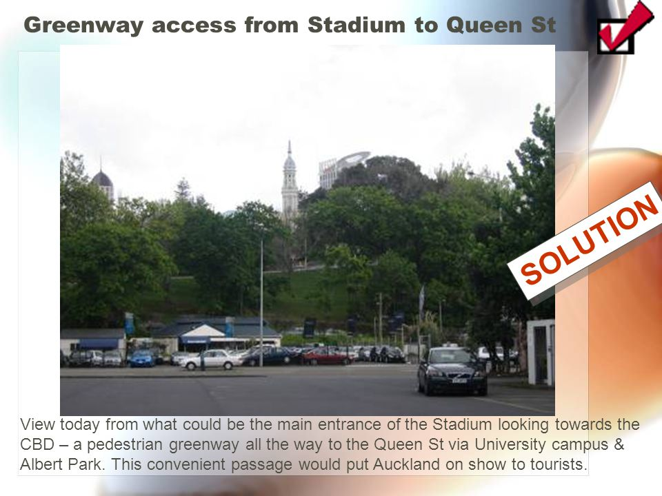 Greenway access from Stadium to Queen St