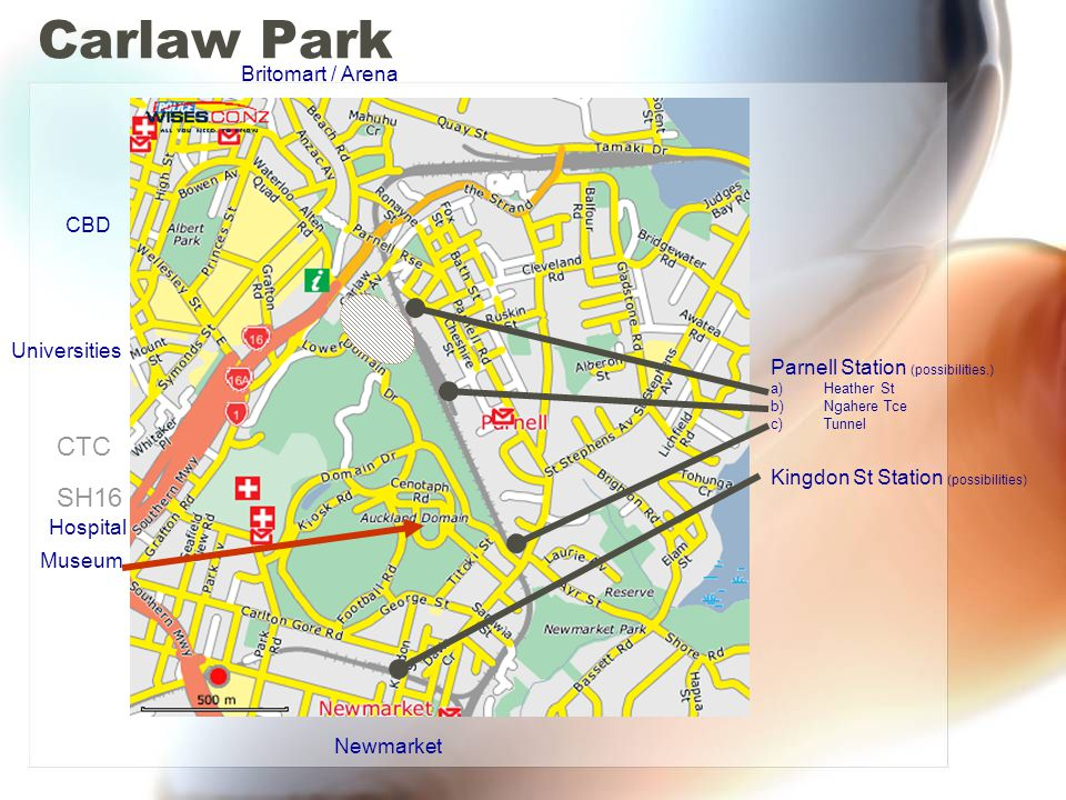 Carlaw Park CTC SH16 Britomart / Arena CBD Universities