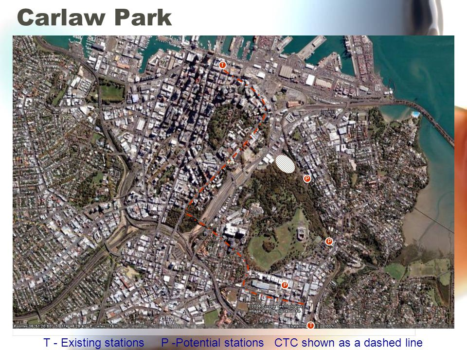 Carlaw Park T P P P T T - Existing stations P -Potential stations CTC shown as a dashed line