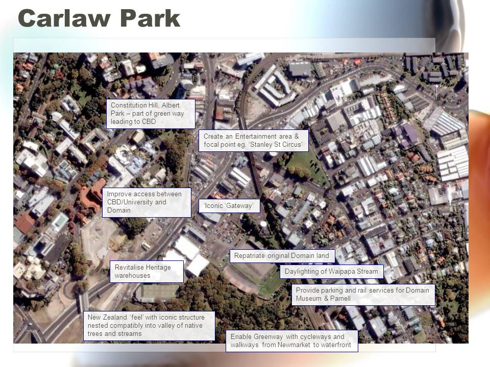 Carlaw Park Constitution Hill, Albert Park – part of green way leading to CBD. Create an Entertainment area &