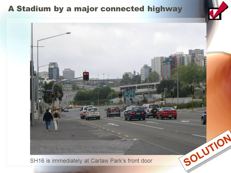 A Stadium by a major connected highway