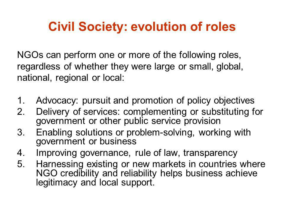Civil Society: evolution of roles