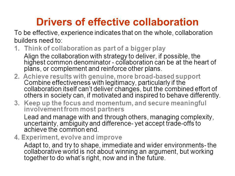 Drivers of effective collaboration
