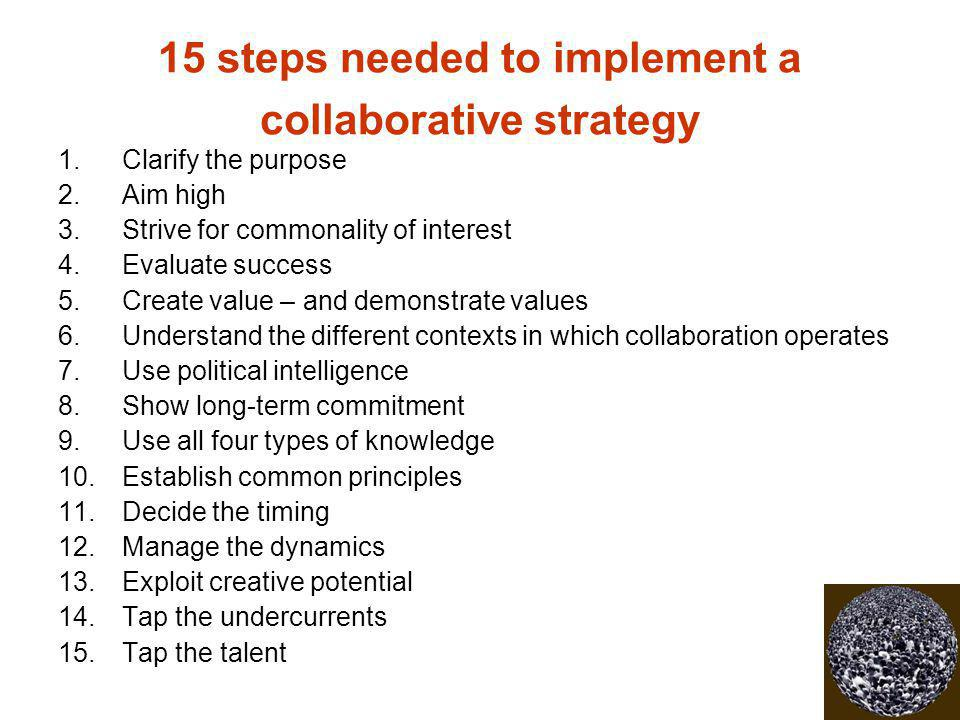 15 steps needed to implement a collaborative strategy