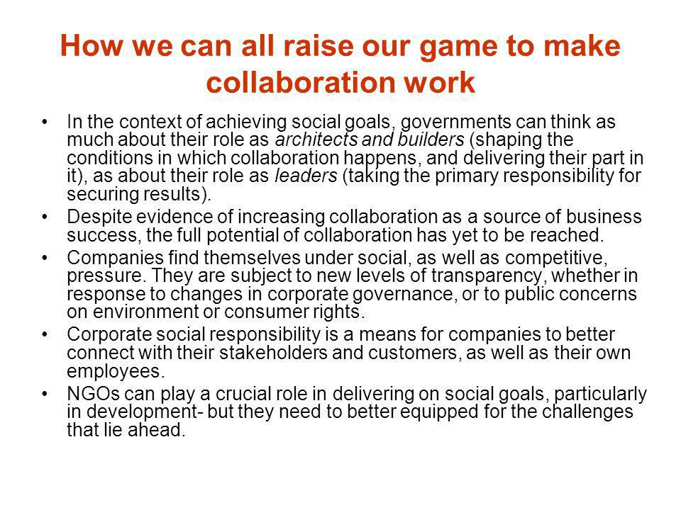 How we can all raise our game to make collaboration work