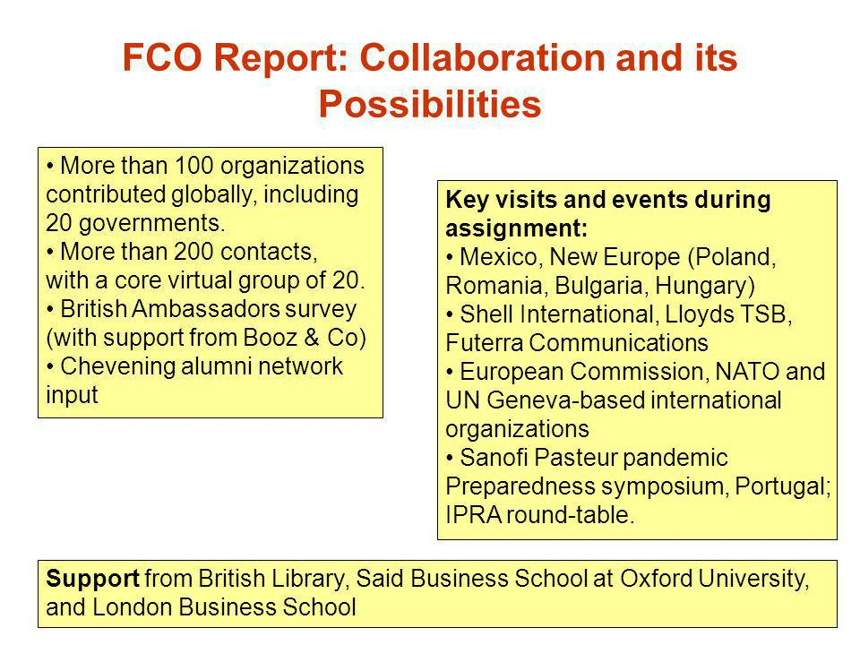 FCO Report: Collaboration and its Possibilities