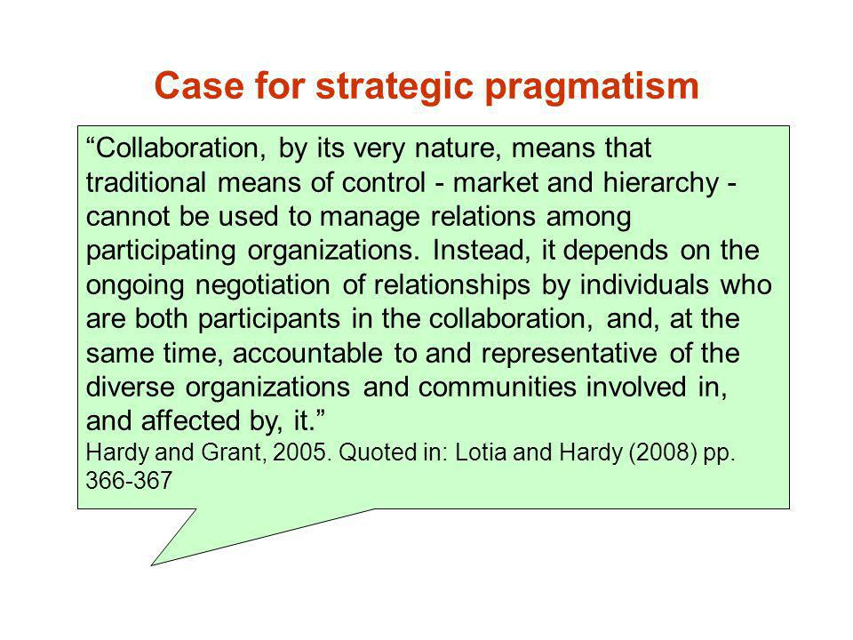 Case for strategic pragmatism