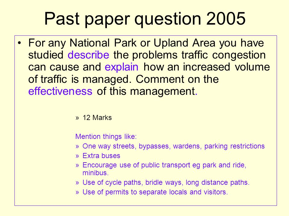 Past paper question 2005