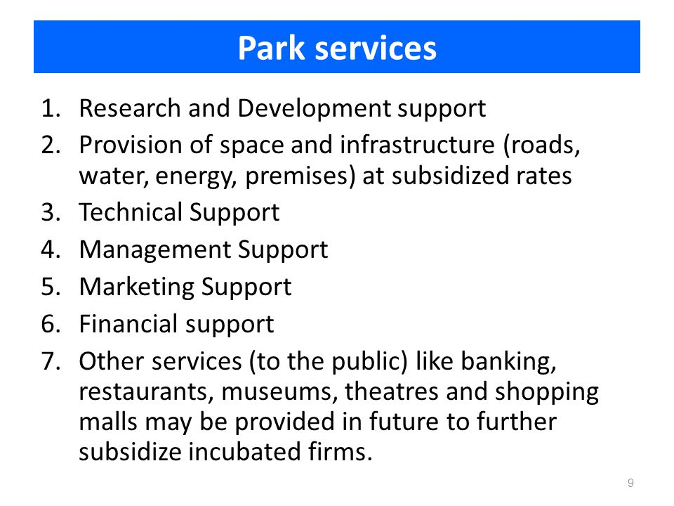 Park services Research and Development support
