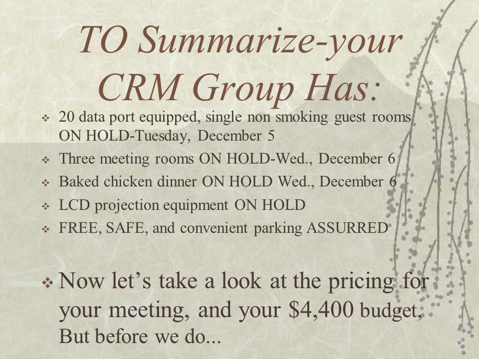 TO Summarize-your CRM Group Has: