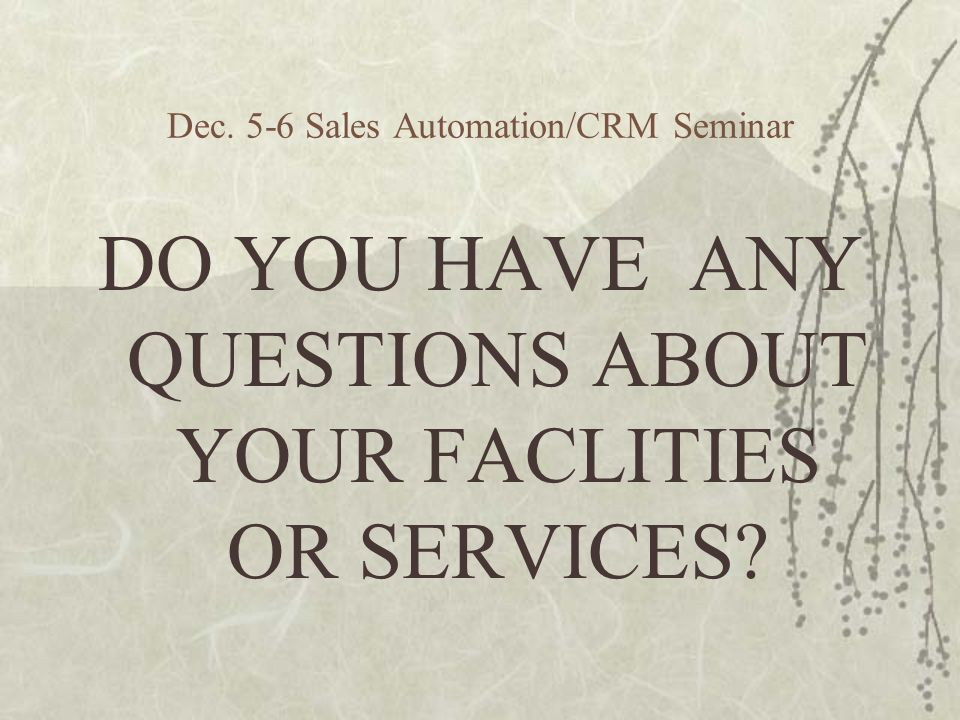 Dec. 5-6 Sales Automation/CRM Seminar