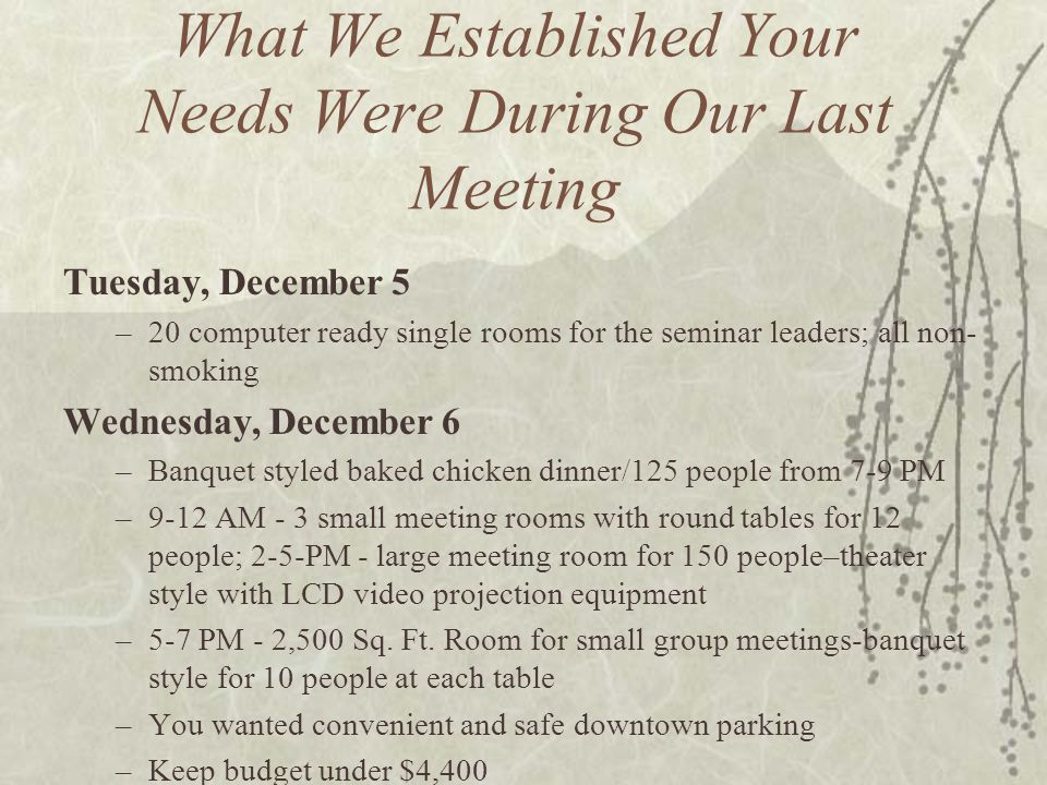What We Established Your Needs Were During Our Last Meeting