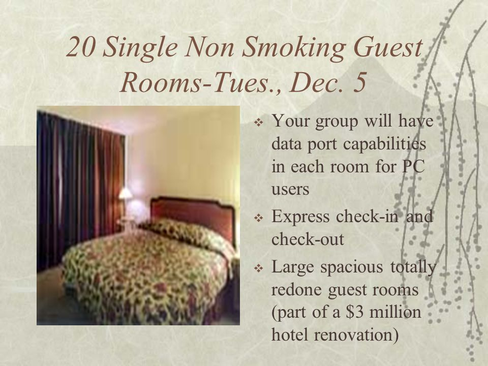 20 Single Non Smoking Guest Rooms-Tues., Dec. 5