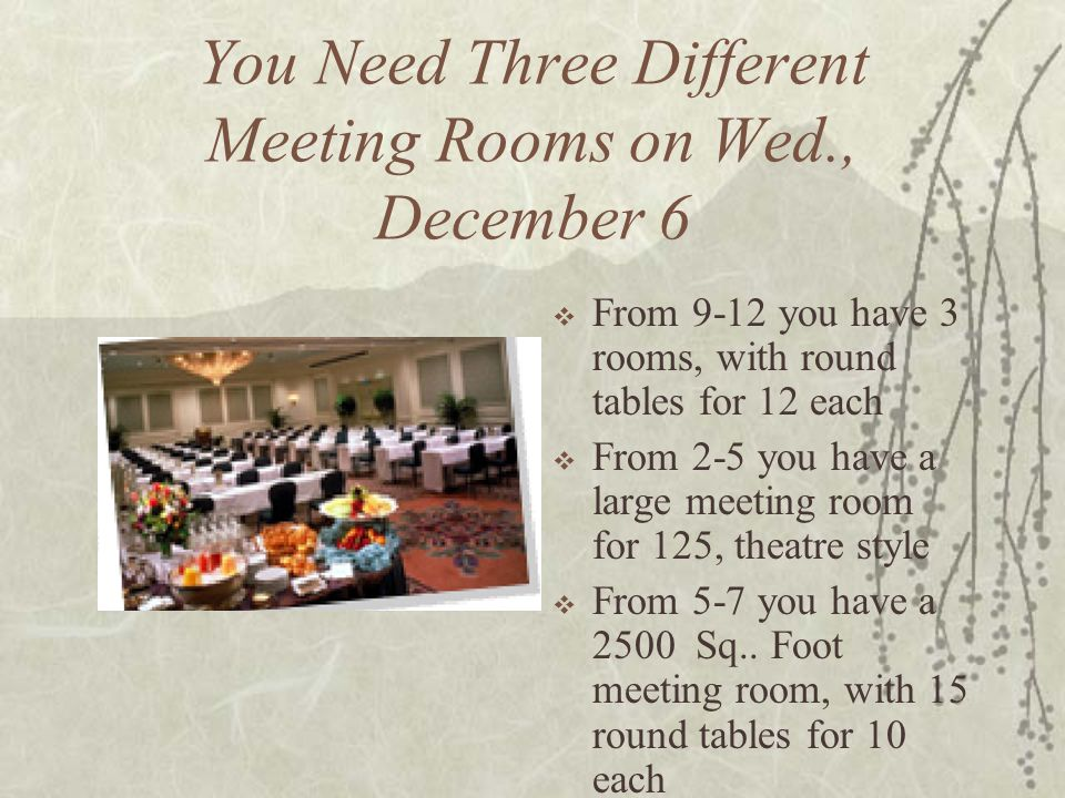 You Need Three Different Meeting Rooms on Wed., December 6