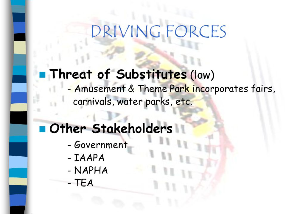 DRIVING FORCES Threat of Substitutes (low) Other Stakeholders