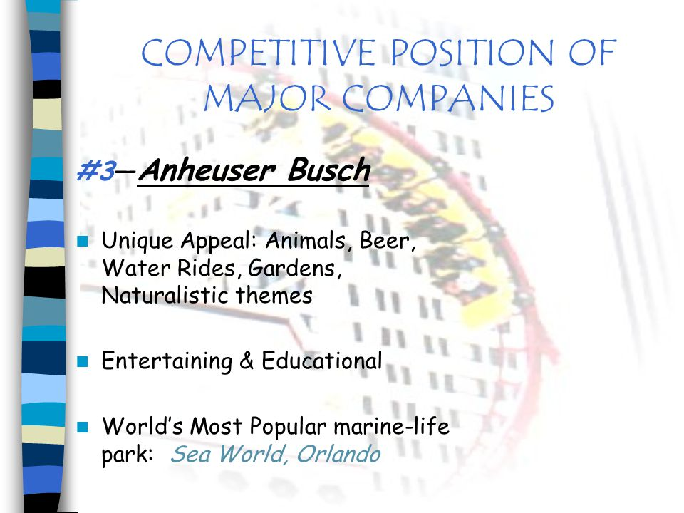 COMPETITIVE POSITION OF MAJOR COMPANIES