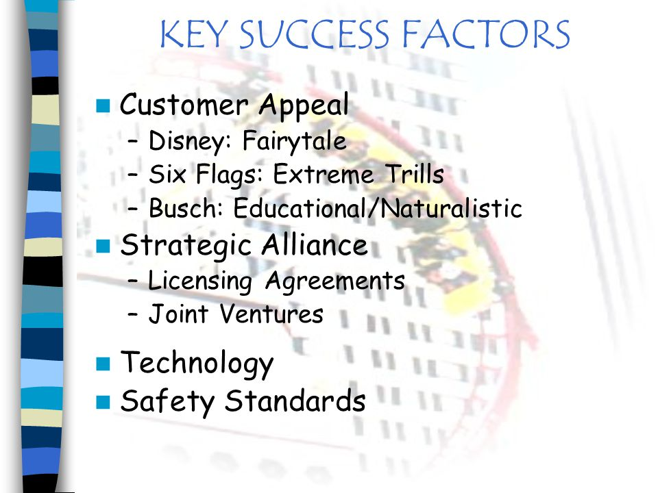 KEY SUCCESS FACTORS Customer Appeal Strategic Alliance Technology