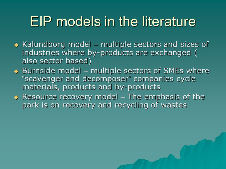 EIP models in the literature