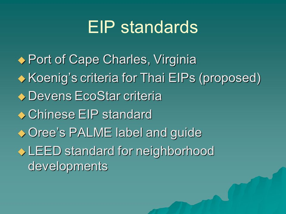EIP standards Port of Cape Charles, Virginia