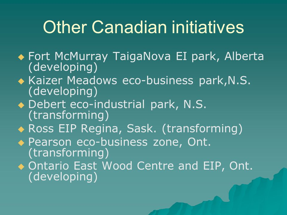 Other Canadian initiatives