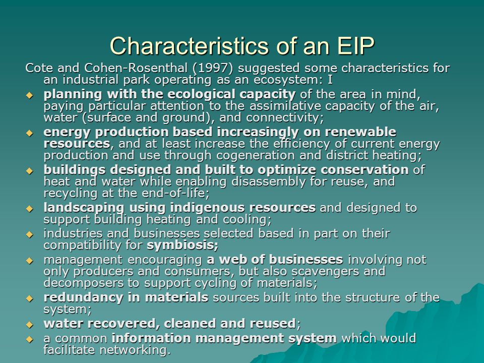 Characteristics of an EIP