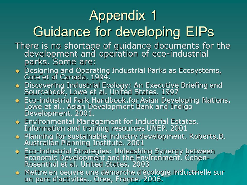Appendix 1 Guidance for developing EIPs