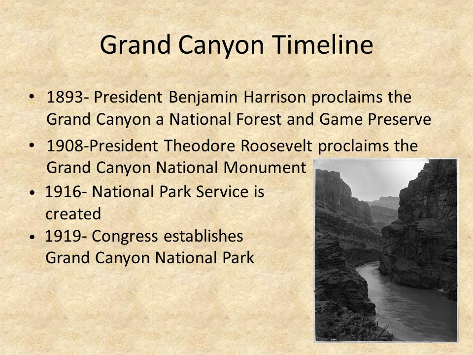 Grand Canyon Timeline 1893- President Benjamin Harrison proclaims the Grand Canyon a National Forest and Game Preserve.