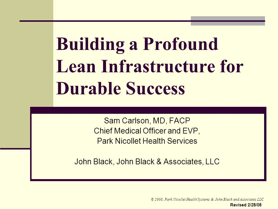 Building a Profound Lean Infrastructure for Durable Success
