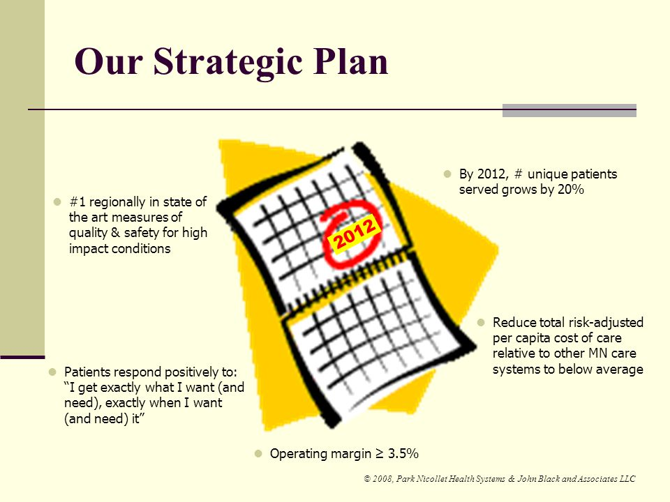 Our Strategic Plan 2012 By 2012, # unique patients served grows by 20%