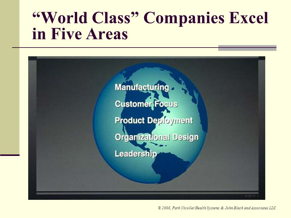 World Class Companies Excel in Five Areas