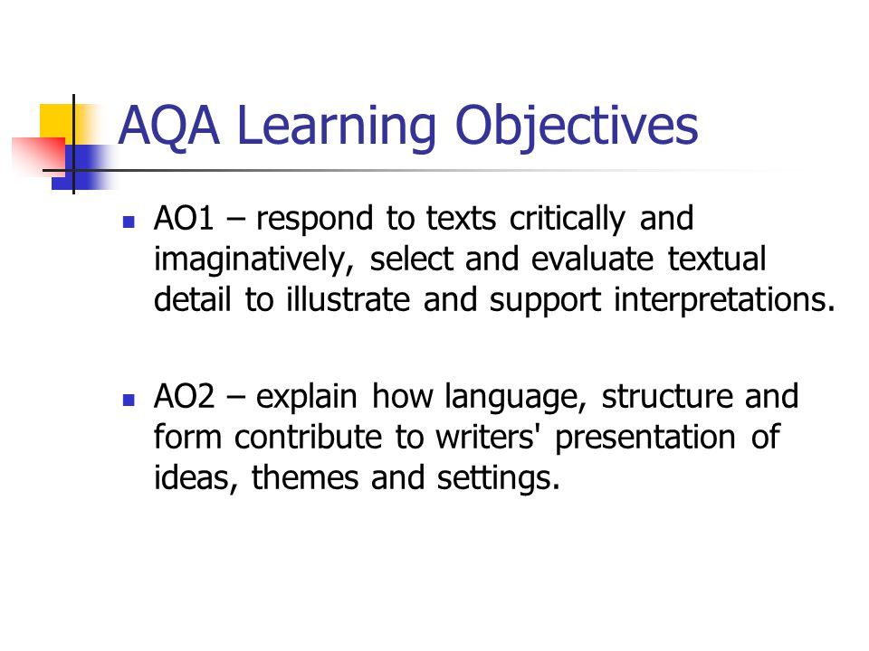 AQA Learning Objectives