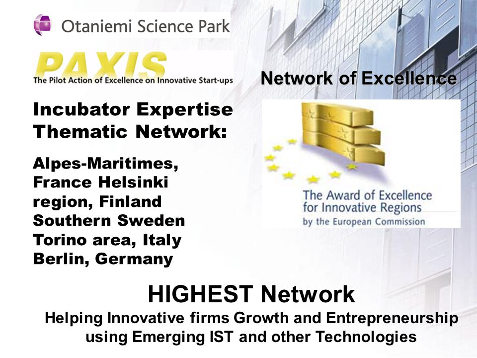 Network of Excellence Incubator Expertise Thematic Network: