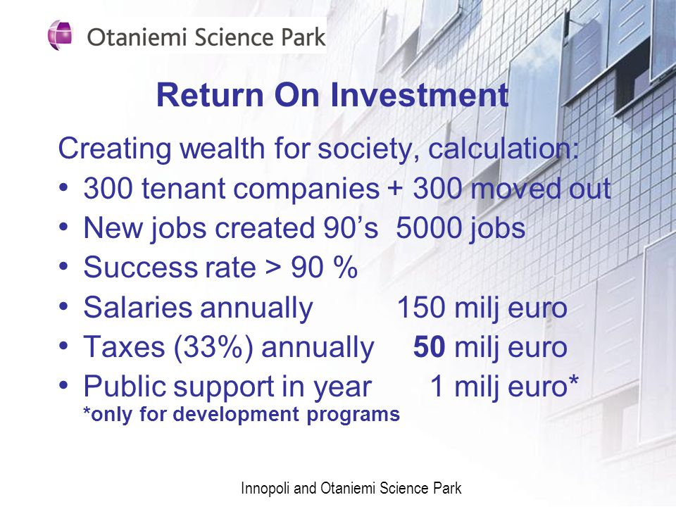 Return On Investment Creating wealth for society, calculation:
