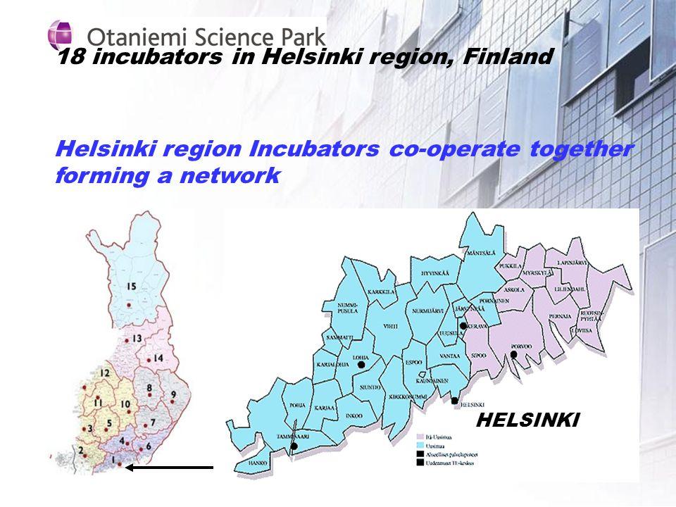 18 incubators in Helsinki region, Finland