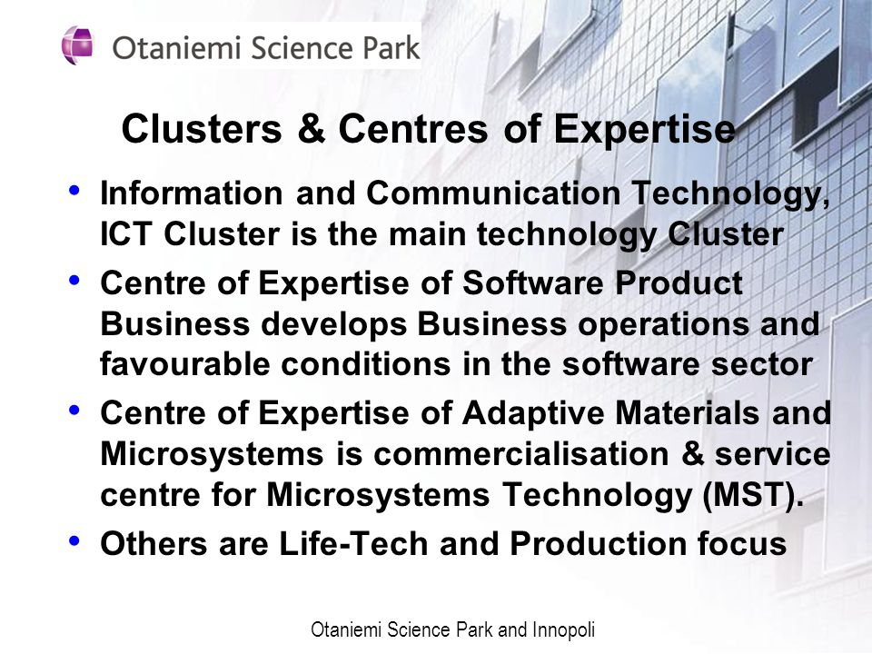 Clusters & Centres of Expertise