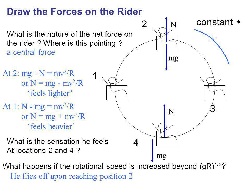 Draw the Forces on the Rider constant  2