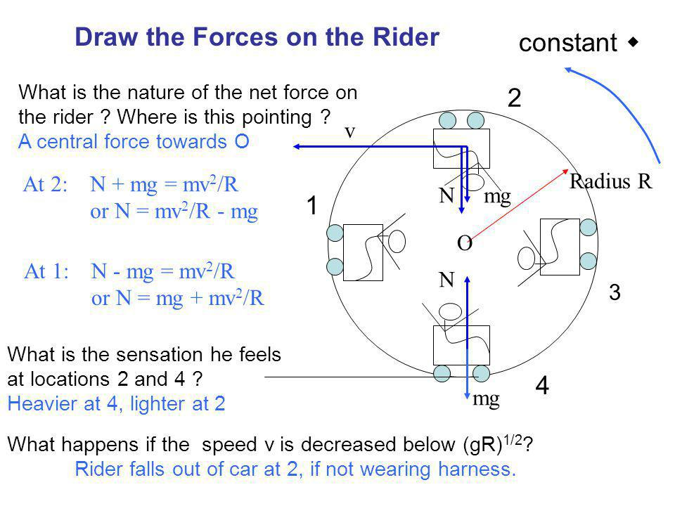 Draw the Forces on the Rider constant 