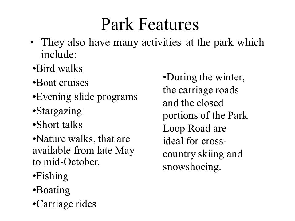 Park Features They also have many activities at the park which include: Bird walks. Boat cruises.