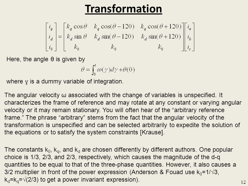 Transformation Here, the angle θ is given by