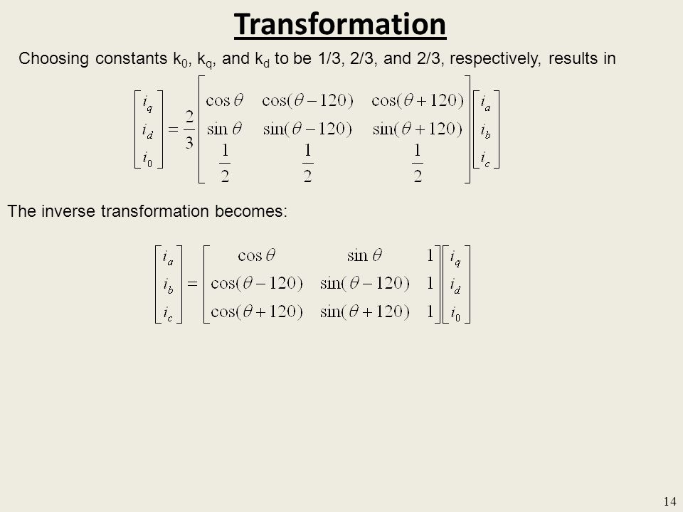 Transformation Choosing constants k0, kq, and kd to be 1/3, 2/3, and 2/3, respectively, results in.