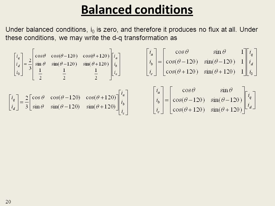 Balanced conditions