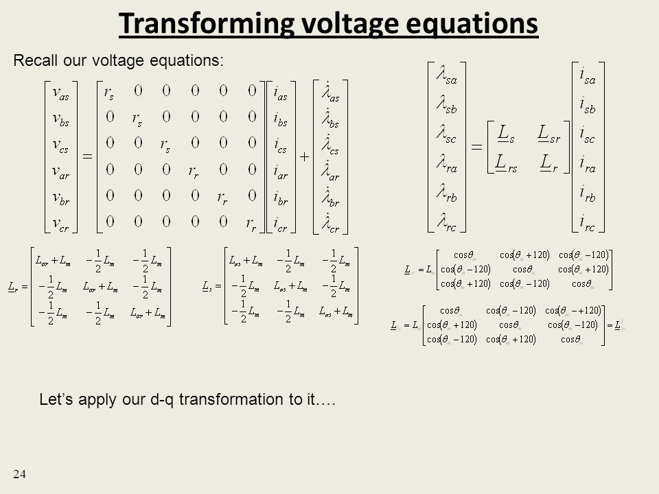 Transforming voltage equations