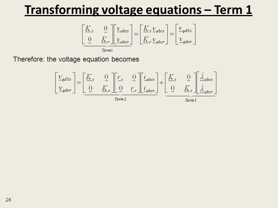 Transforming voltage equations – Term 1