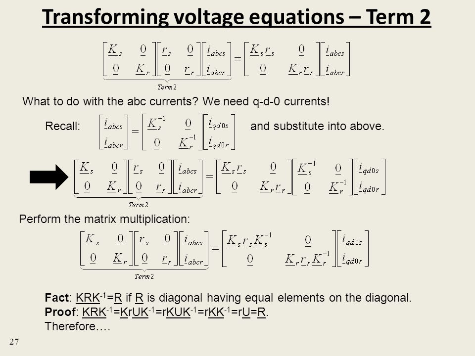 Transforming voltage equations – Term 2