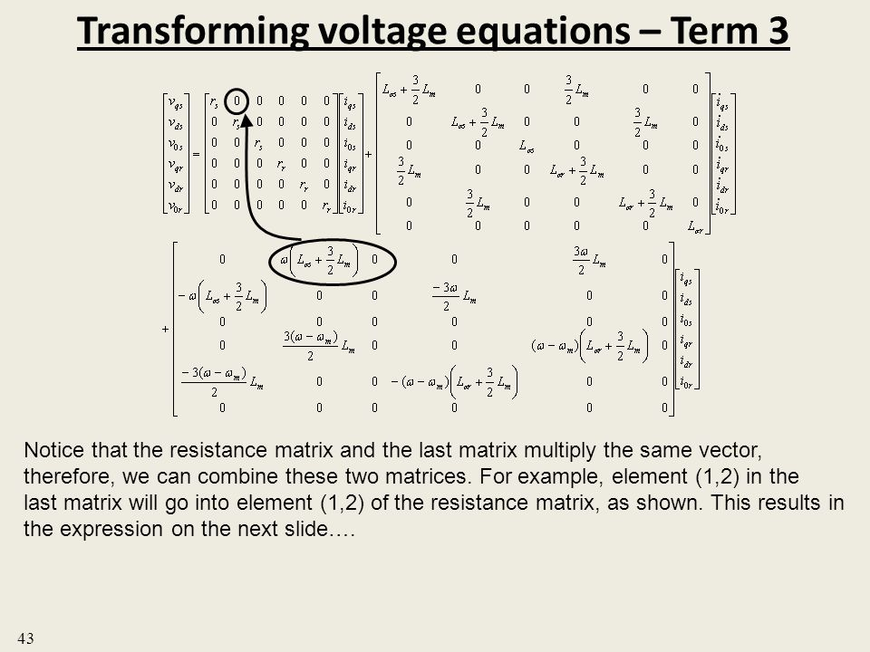 Transforming voltage equations – Term 3