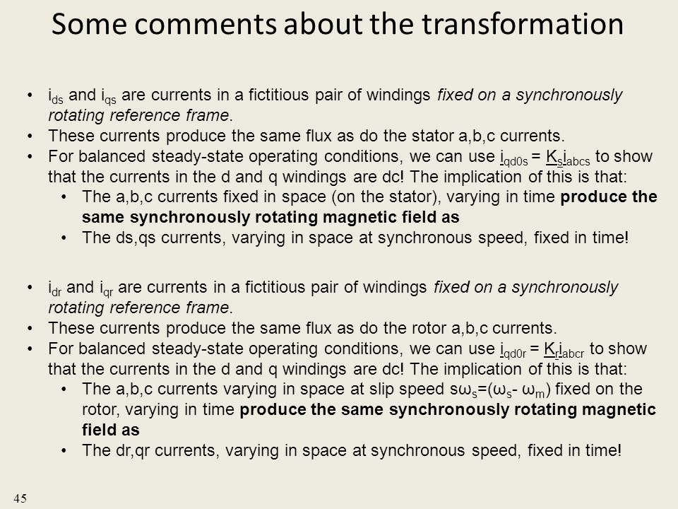 Some comments about the transformation