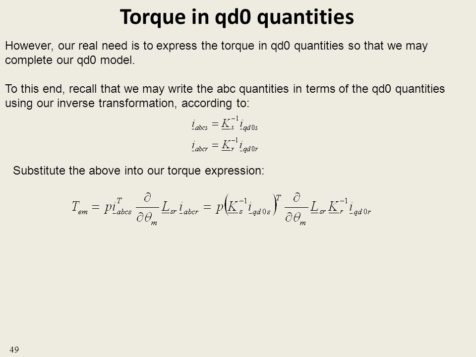 Torque in qd0 quantities